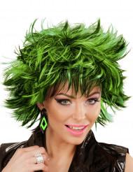 80er Ohrringe Rauten für Damen grün-schwarz