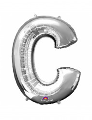 Riesen Folienballon Buchstabe c silber 63x 81 cm