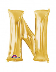 Folienballon Buchstabe N gold  60  x 81 cm
