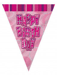 rosa Wimpelgirlande Happy Birthday