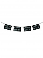 Happy Birthday Girlande schwarz-weiß 4,50m