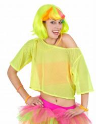 Netzshirt neongelb 80er Jahre Damen