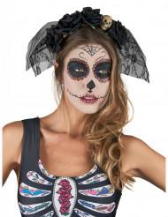Haarreif mit schwarzer Spitze Dia De Los Muertos