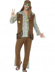 Flower-Power 60er-Jahre Hippie Kostüm für Herren braun-bunt