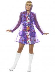 Wasserdichte Jacke 60er Jahre violett Damen