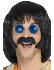 Hippie Set mit Bart und Kotelletten schwarz