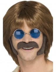 Hippie Set mit Bart und Kotelletten braun