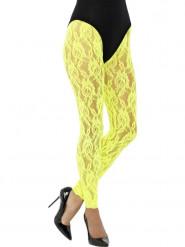Legging Spitze in Neongelb Damen