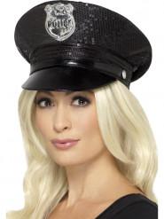 Polizei - Hut schwarze Pailletten für Damen