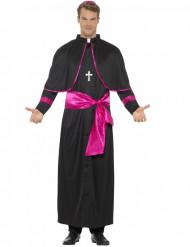 Pfarrerkostüm für Herren schwarz pink