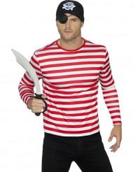 T-Shirt für Erwachsene mit weißen und roten Streifen