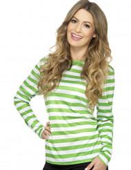 T-Shirt für Erwachsene mit grünen und weißen Streifen