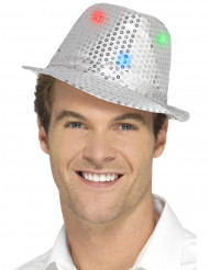 Hut Borsalino silber besetzt mit LED für Erwachsene
