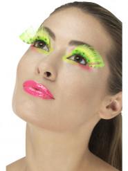 Falsche Wimpern in Neongrün Erwachsene