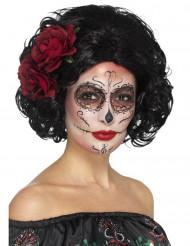 Kurze schwarze Perücke mit roten Rosen für Damen Dia de los Muertos