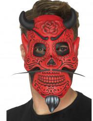 Tag der Toten Dämonen Maske für Halloween rot-schwarz