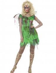 Zombie-Fee Damenkostüm grün-rot