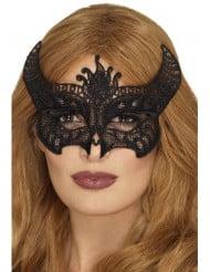 Maske mit Spitze schwarzer Teufel Damen Halloween