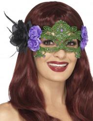Maske grüne Spitze mit lila und schwarzen Rosen Damen