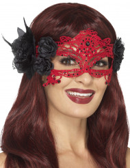 Maske rote Spitze mit schwarzen Rosen Damen