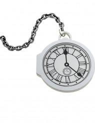 Weiße Taschenuhr mit Kette 18cm
