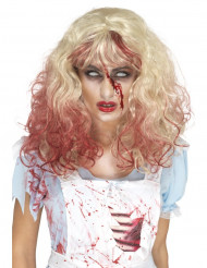 Perücke blond mit blutverschmierten Spitzen