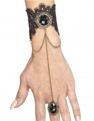 Armband mit schwarzem Gothic-Ring Damen