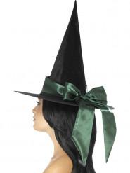 Schwarzer Hexenhut mit grüner Schleife