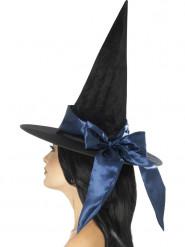 Schwarzer Hexenhut mit blauer Schleife