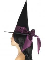 Schwarzer Hut mit violetter Schleife für Damen