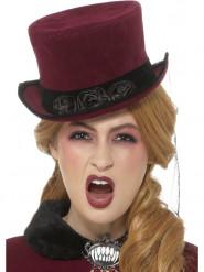 Vampir-Kopfbedeckung Viktorianischer-Hut rot-schwarz