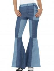 Hose mit Patchworkmuster für Damen in blau