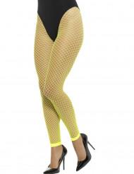 Netzstrumpfhose neongelb ohne Füße für Damen