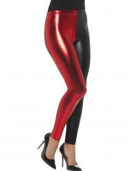 Leggings Metallic rot und schwarz zweifarbig Damen