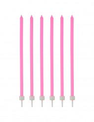 16 dünne Kerzen mit Leuchtermanschetten 12 cm