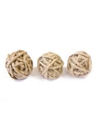 Natürliche Schnurkugeln 6 Stück braun 3cm