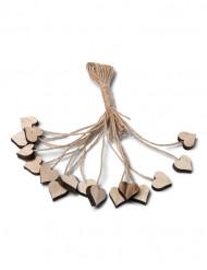 Herzen aus Holz mit Schnur Tischdeko 16 Stück braun 2x2x0,7cm
