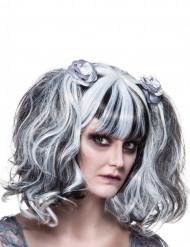 Damen-Perücke - Gothic Stil - schwarz/weiss