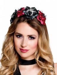 Stirnband mit rosa Spinne Silber Dia de los Muertos für Damen