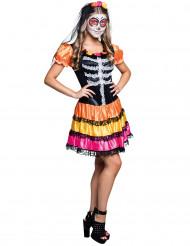 Dia de los Muertos buntes Skelett Kostüm für Damen