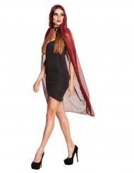 Umhang leuchtend rot mit Kapuze 140 cm Damen Halloween