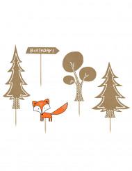 Liebliche Kuchendekoration Wald-Figuren 5 Stück braun-orange