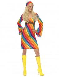 Hippie-Kostüm Regenbogen Damen