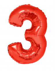 Riesiger Folienballon Ziffer 3 102 cm