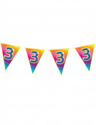 5m lange Wimpelgirlande für den 3. Geburtstag