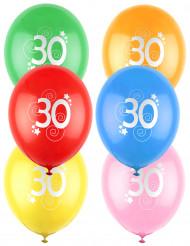 12 Ballons Zahl 30 mehrere Farben