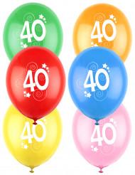 12 Luftballons 40. Geburtstag bunt
