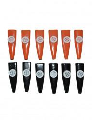 Kazoo-Set Membranophon 12-Stück schwarz-orange