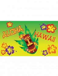 Hawaii-Banner mit Totempfahl grün-gelb