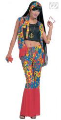 Hippie-Kostüm mit Blumen für Damen 70er